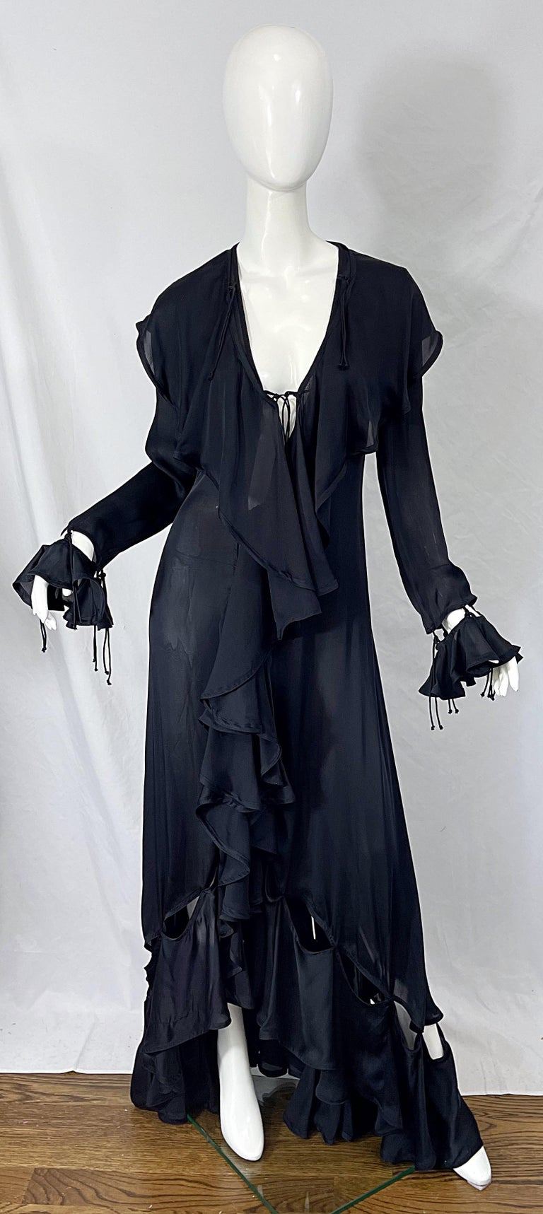 Women's Yves Saint Laurent by Tom Ford Fall 2003 Runway Black Silk Chiffon Gown Size 38 For Sale