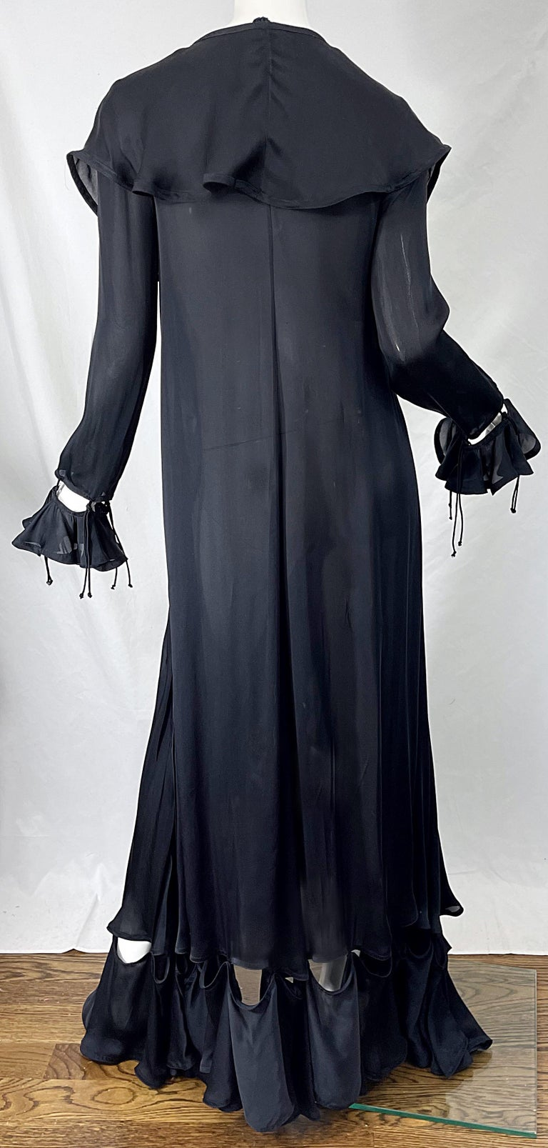 Yves Saint Laurent by Tom Ford Fall 2003 Runway Black Silk Chiffon Gown Size 38 For Sale 1