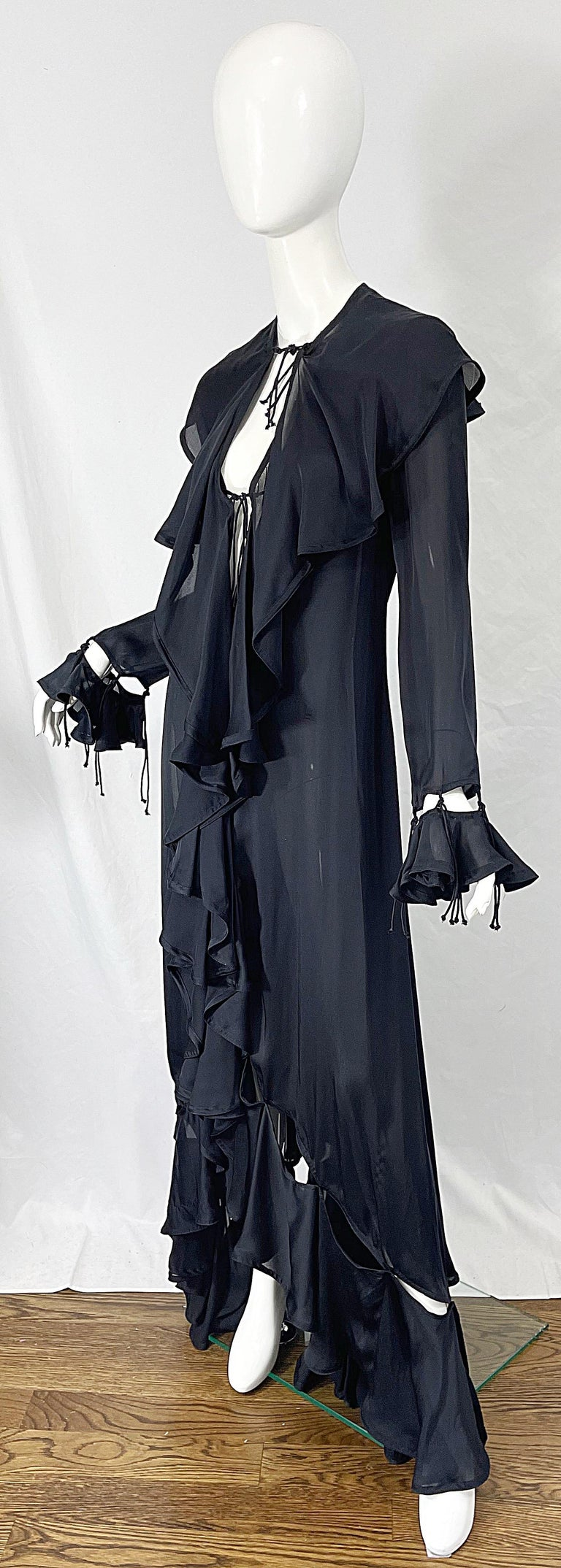 Yves Saint Laurent by Tom Ford Fall 2003 Runway Black Silk Chiffon Gown Size 38 For Sale 2