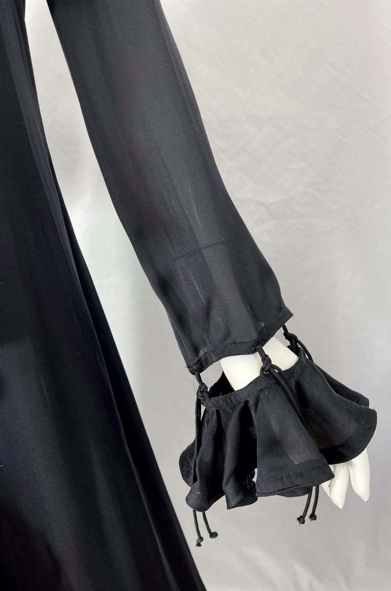 Yves Saint Laurent by Tom Ford Fall 2003 Runway Black Silk Chiffon Gown Size 38 For Sale 3