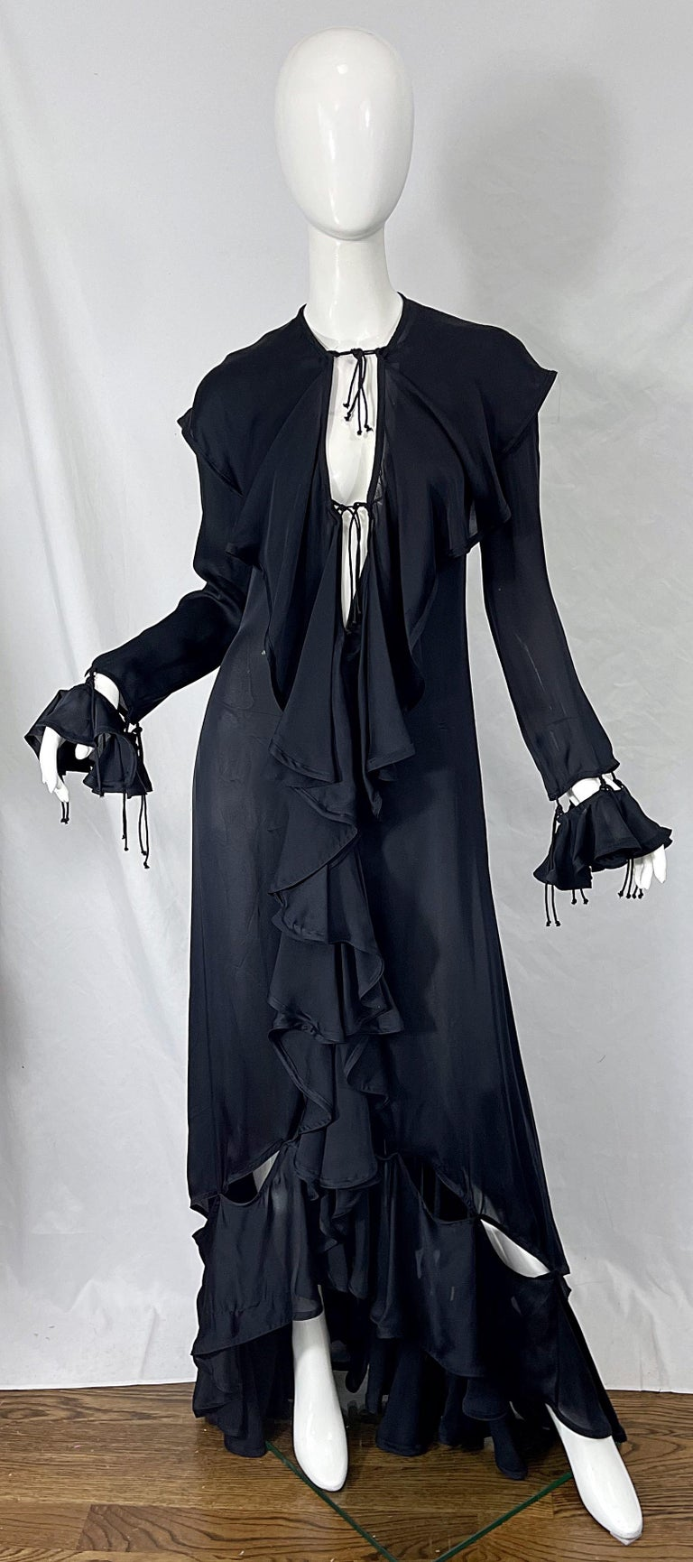 Yves Saint Laurent by Tom Ford Fall 2003 Runway Black Silk Chiffon Gown Size 38 For Sale 4