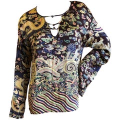 Yves Saint Laurent by Tom Ford Fall 2004 Chinoiserie Dragon Silk Top Size XLarge