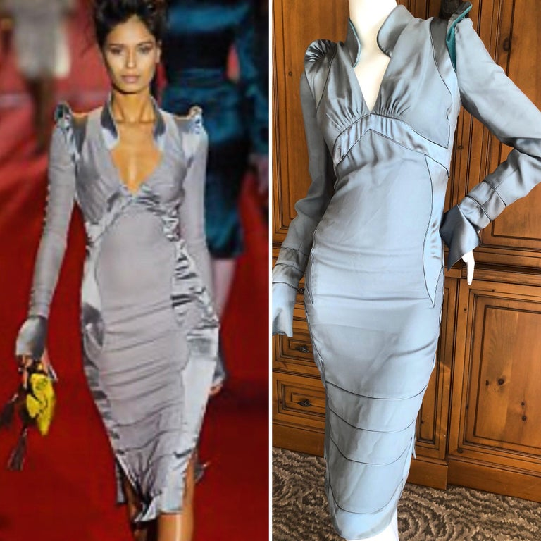 Gray Yves Saint Laurent by Tom Ford Fall 2004 Pagoda Shoulder Dress  For Sale