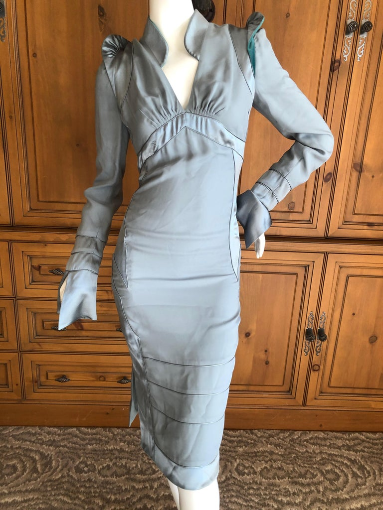 Yves Saint Laurent by Tom Ford Fall 2004 Pagoda Shoulder Dress  In Excellent Condition For Sale In San Francisco, CA