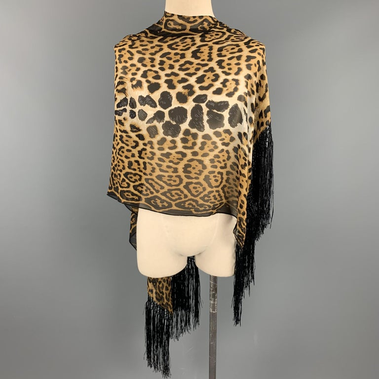YVES SAINT LAURENT by TOM FORD Leopard Brown & Tan Silk Scarf For Sale 1