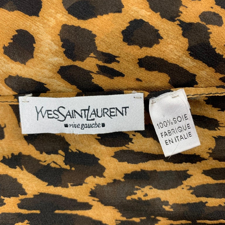 YVES SAINT LAURENT by TOM FORD Leopard Brown & Tan Silk Scarf For Sale 3