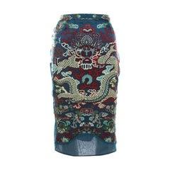 Yves Saint Laurent by Tom Ford Printed Silk Irregular Paneled Skirt XL