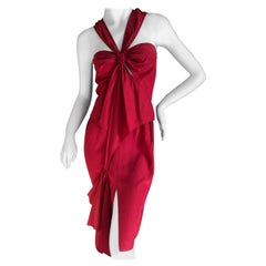 Yves Saint Laurent by Tom Ford Red Silk Keyhole Dress 2003