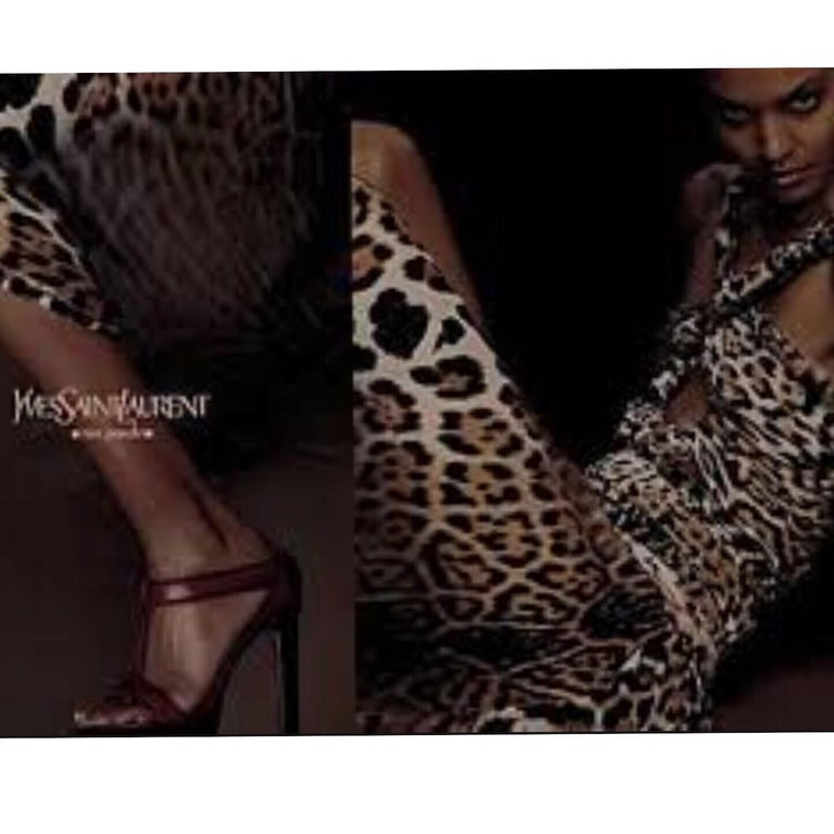 Yves Saint Laurent by Tom Ford Silk Leopard Cut Out Maxi Dress YSL, 2002  For Sale 9