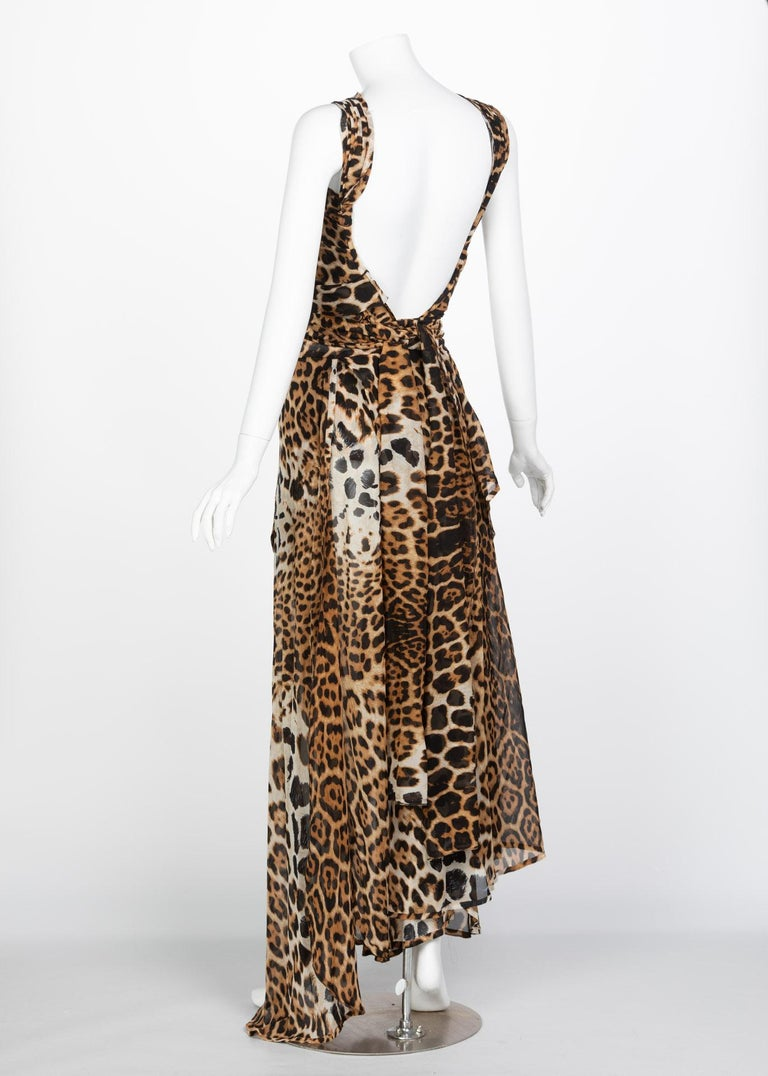 Yves Saint Laurent by Tom Ford Silk Leopard Cut Out Maxi Dress YSL, 2002  For Sale 10
