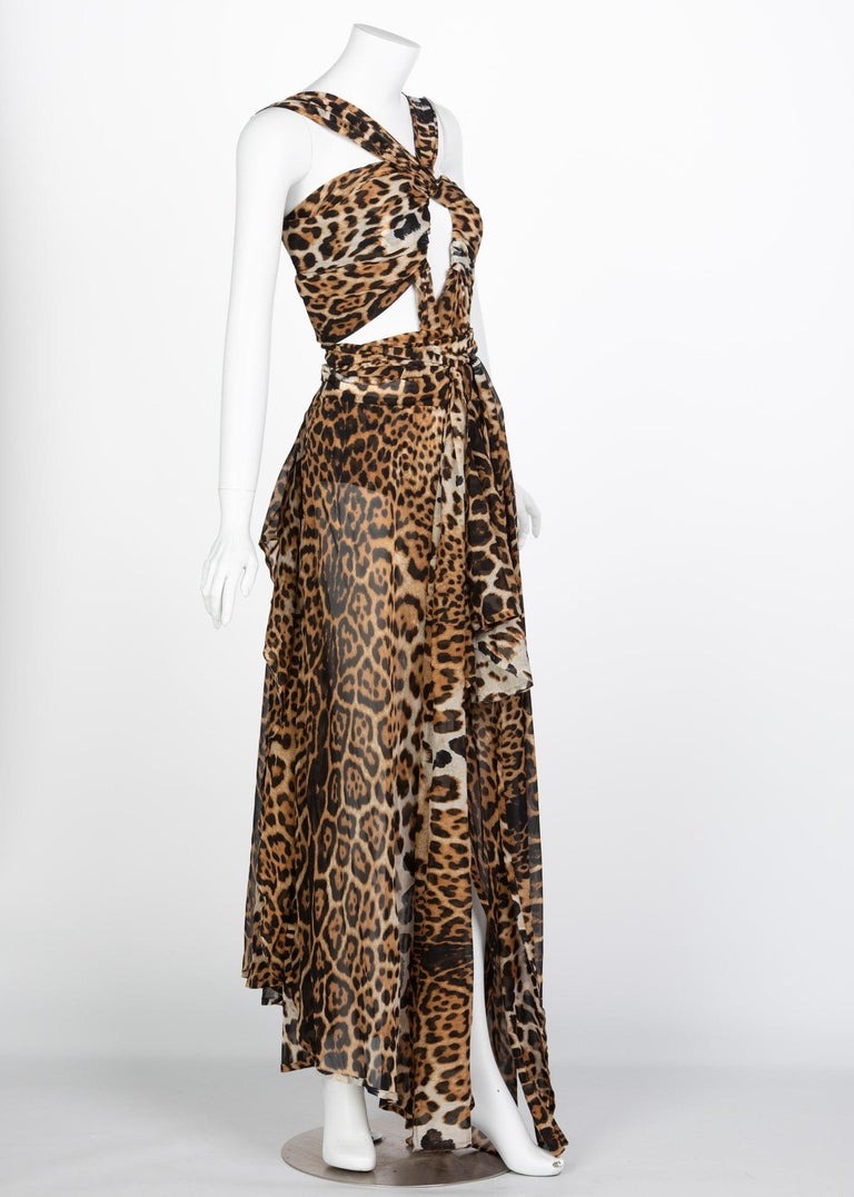 Beige  Yves Saint Laurent by Tom Ford Silk Leopard Cut Out Maxi Dress YSL, 2002  For Sale