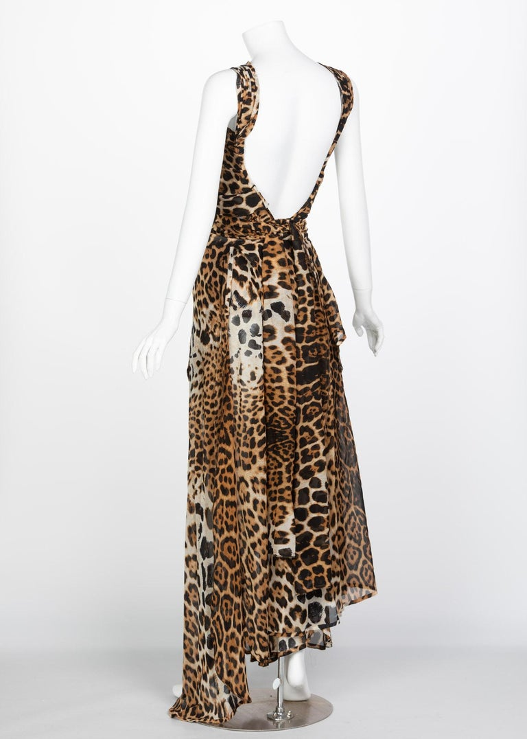 Yves Saint Laurent by Tom Ford Silk Leopard Cut Out Maxi Dress YSL, 2002  In Excellent Condition For Sale In Boca Raton, FL