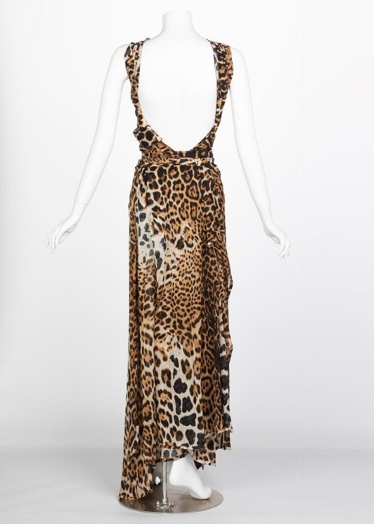Women's  Yves Saint Laurent by Tom Ford Silk Leopard Cut Out Maxi Dress YSL, 2002  For Sale