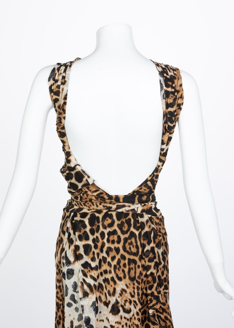 Yves Saint Laurent by Tom Ford Silk Leopard Cut Out Maxi Dress YSL, 2002  For Sale 4