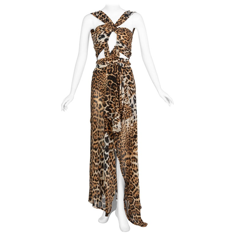 Yves Saint Laurent by Tom Ford Silk Leopard Cut Out Maxi Dress YSL, 2002  For Sale