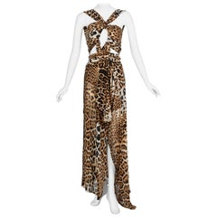Yves Saint Laurent by Tom Ford Silk Leopard Cut Out Maxi Dress YSL, 2002