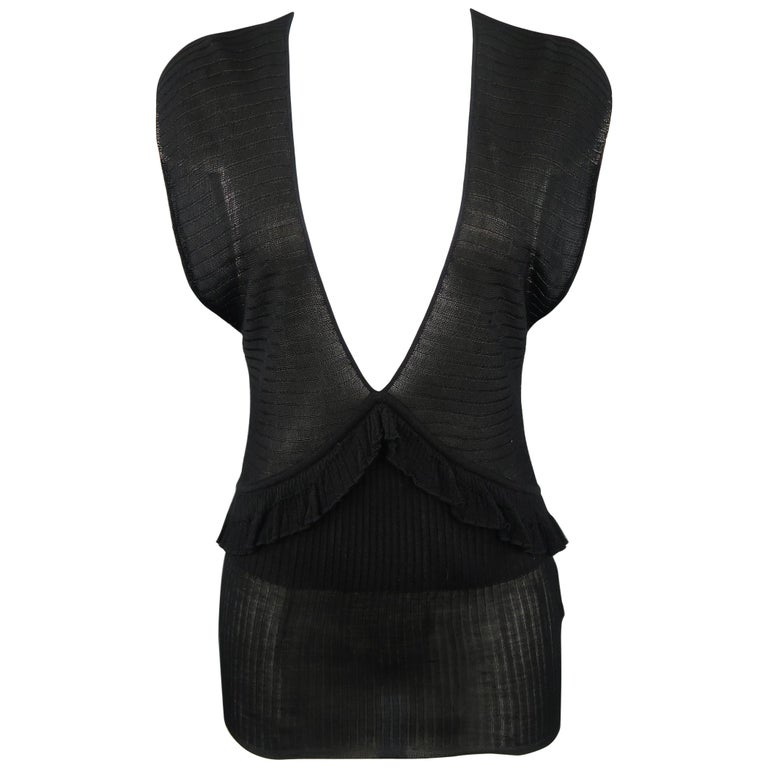 5dcdcf0c209 YVES SAINT LAURENT by TOM FORD Size L Black Silk Sheer Knit Plunge Top For  Sale