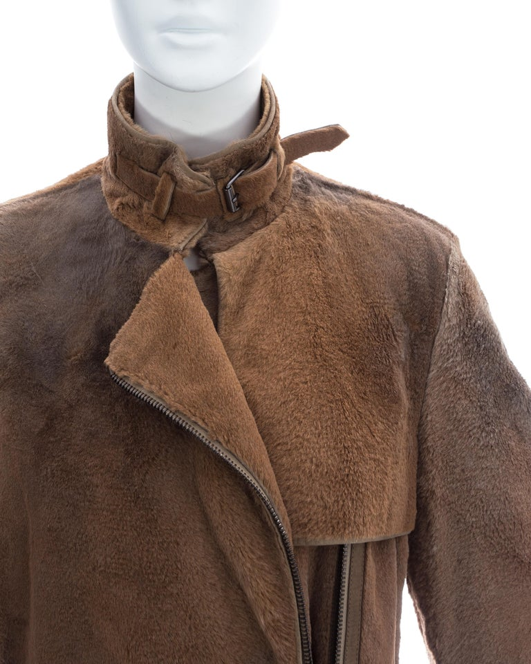 Yves Saint Laurent by Tom Ford tan sheared fur patchwork coat, fw 2002 In Excellent Condition For Sale In London, GB