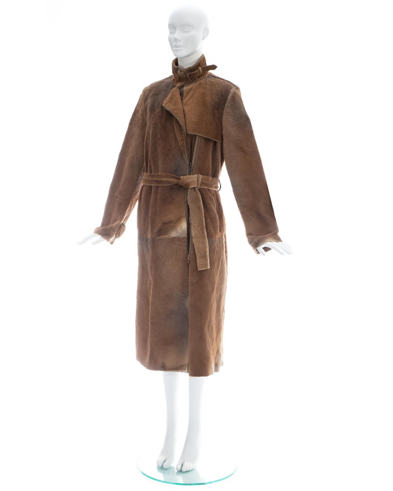 Yves Saint Laurent by Tom Ford tan sheared fur patchwork coat, fw 2002 For Sale 1
