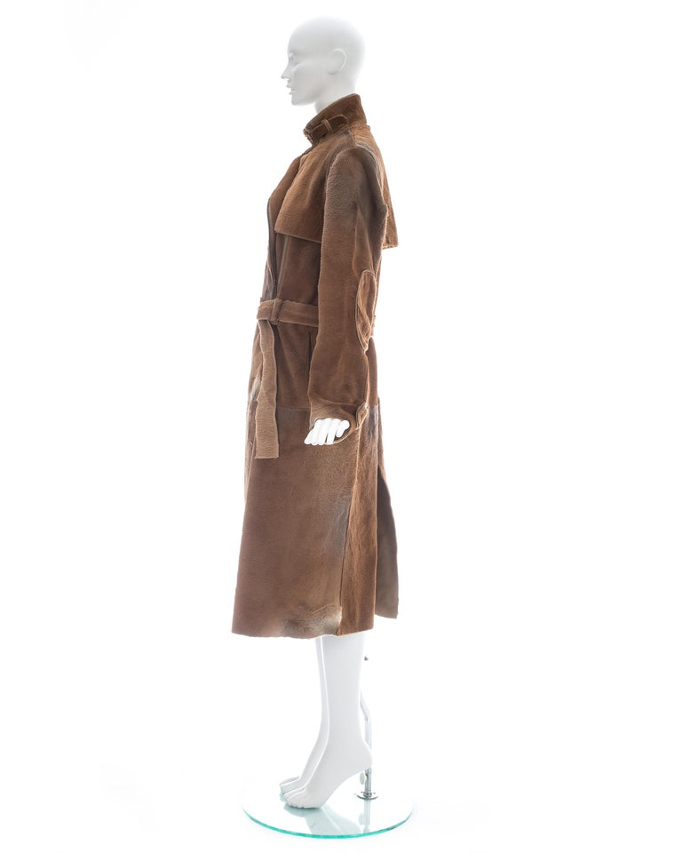 Yves Saint Laurent by Tom Ford tan sheared fur patchwork coat, fw 2002 For Sale 2
