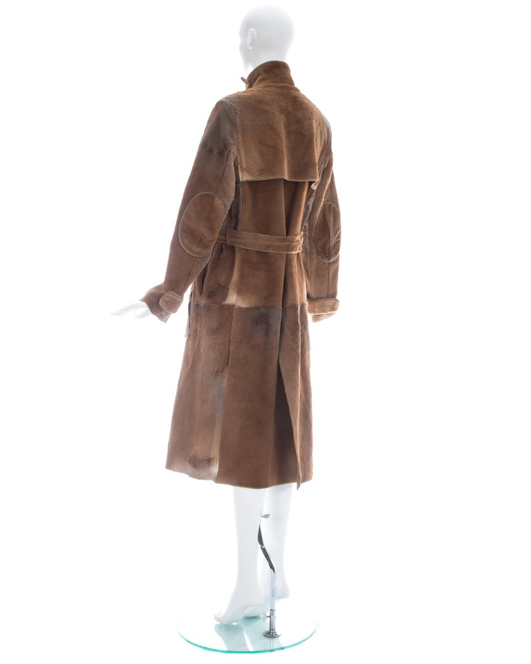 Yves Saint Laurent by Tom Ford tan sheared fur patchwork coat, fw 2002 For Sale 3