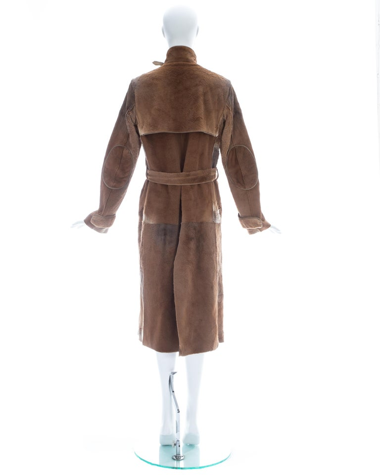 Yves Saint Laurent by Tom Ford tan sheared fur patchwork coat, fw 2002 For Sale 4