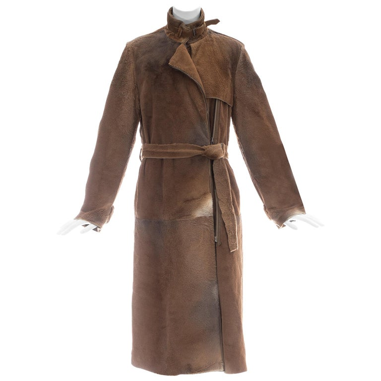 Yves Saint Laurent by Tom Ford tan sheared fur patchwork coat, fw 2002 For Sale