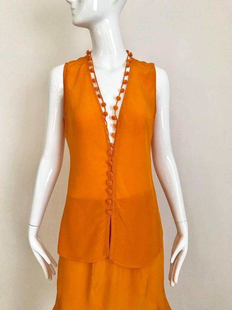 Orange Yves Saint Laurent By Tom Ford Tangerine Silk Blouse and Skirt set For Sale