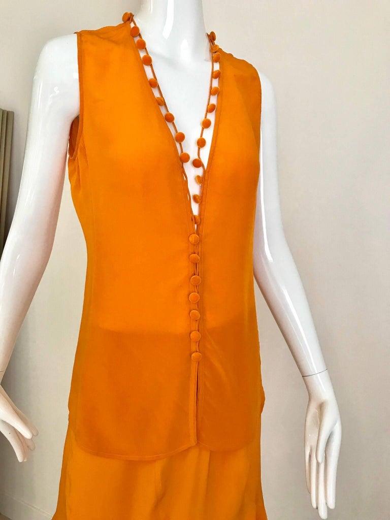 Women's Yves Saint Laurent By Tom Ford Tangerine Silk Blouse and Skirt set For Sale