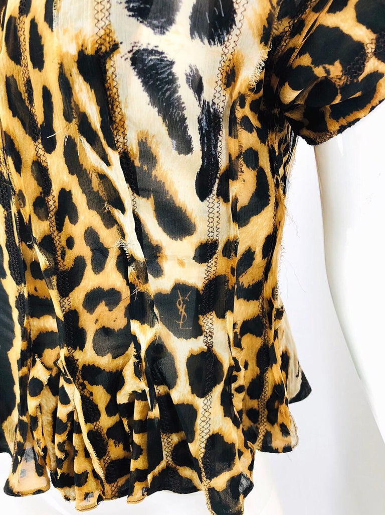 Black Yves Saint Laurent by Tom Ford YSL Leopard Print Silk Chiffon Corset Style Top For Sale