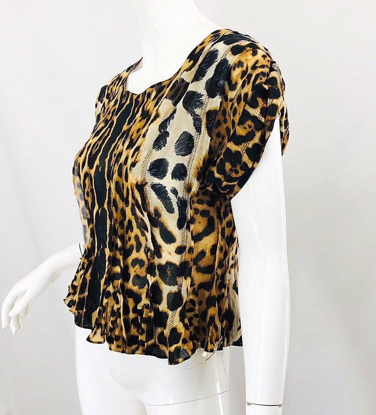 Women's Yves Saint Laurent by Tom Ford YSL Leopard Print Silk Chiffon Corset Style Top For Sale