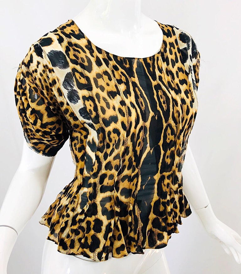 Yves Saint Laurent by Tom Ford YSL Leopard Print Silk Chiffon Corset Style Top For Sale 4