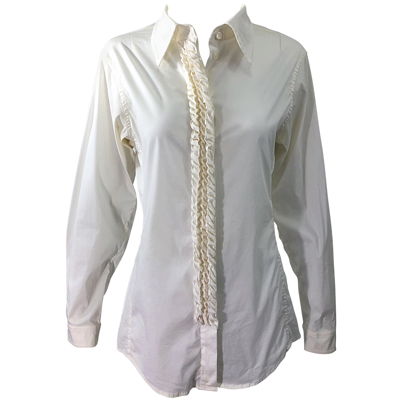 Yves Saint Laurent by Tom Ford YSL Size 40 / 8 Ivory White Tuxedo Blouse Shirt