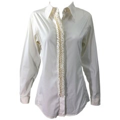 Yves Saint Laurent by Tom Ford YSL Size 40 / 8 Ivory White Tuxedo Blouse Shirt