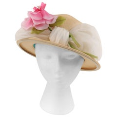 YVES SAINT LAURENT c.1960s Raffia Straw Woven Chiffon Band Bow Flower Boater Hat
