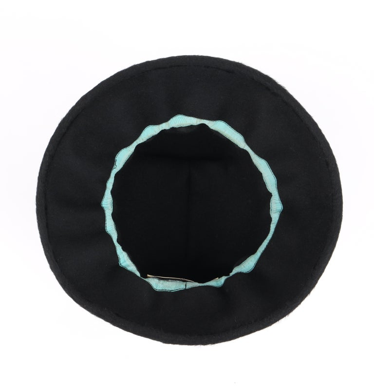 YVES SAINT LAURENT c.1960's YSL Black Felted Fur Top Handle Bucket Hat For Sale 6