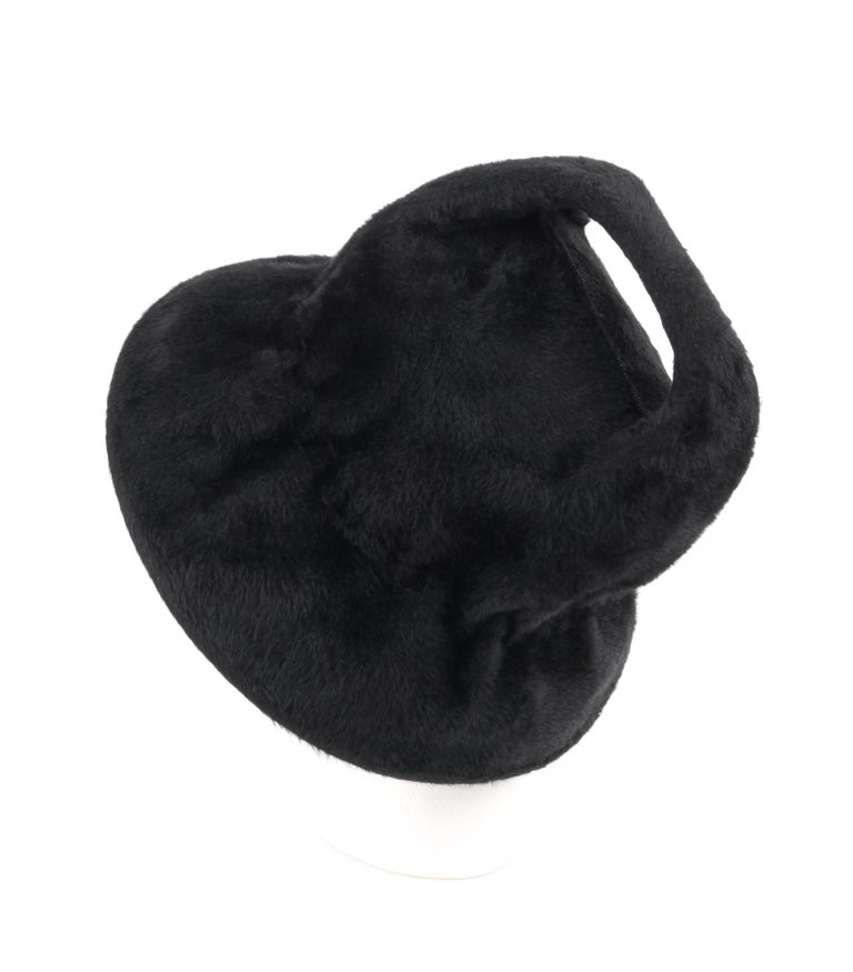 YVES SAINT LAURENT c.1960's YSL Black Felted Fur Top Handle Bucket Hat In Good Condition For Sale In Thiensville, WI