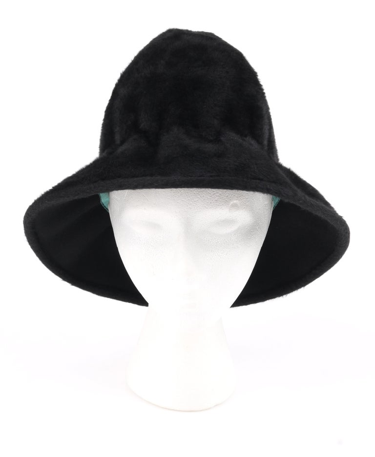 Women's YVES SAINT LAURENT c.1960's YSL Black Felted Fur Top Handle Bucket Hat For Sale