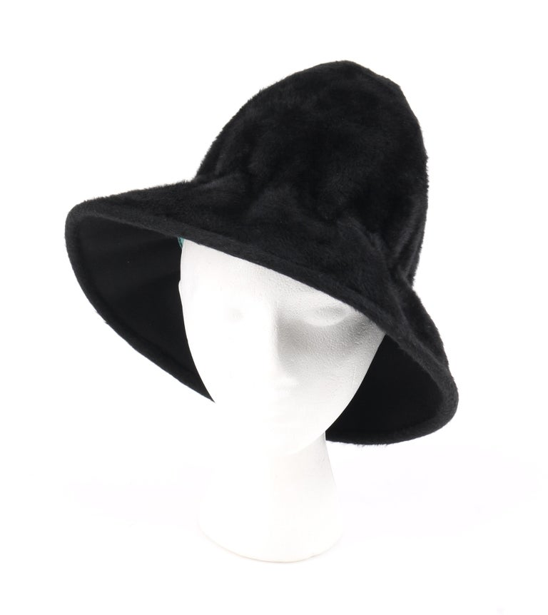 YVES SAINT LAURENT c.1960's YSL Black Felted Fur Top Handle Bucket Hat For Sale 1