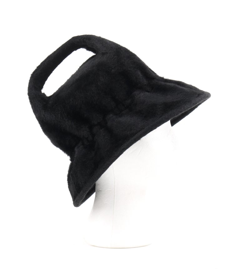YVES SAINT LAURENT c.1960's YSL Black Felted Fur Top Handle Bucket Hat For Sale 2
