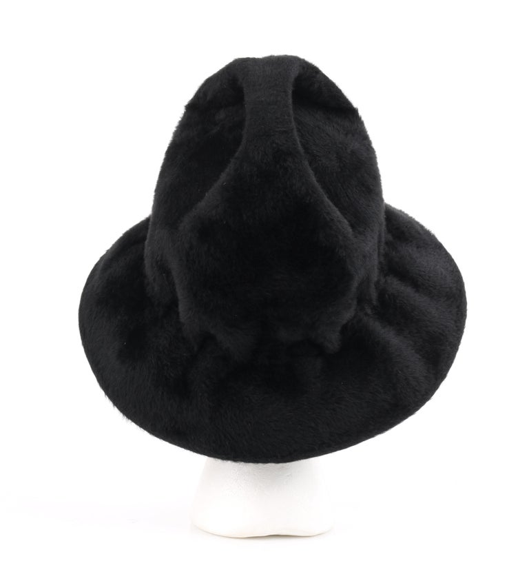 YVES SAINT LAURENT c.1960's YSL Black Felted Fur Top Handle Bucket Hat For Sale 3