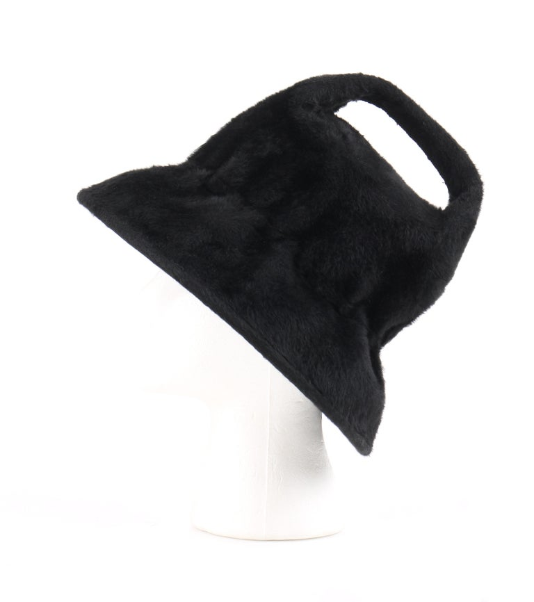 YVES SAINT LAURENT c.1960's YSL Black Felted Fur Top Handle Bucket Hat For Sale 4