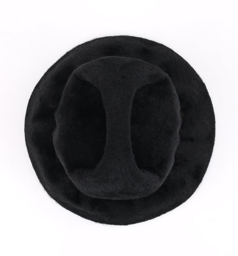 YVES SAINT LAURENT c.1960's YSL Black Felted Fur Top Handle Bucket Hat For Sale 5