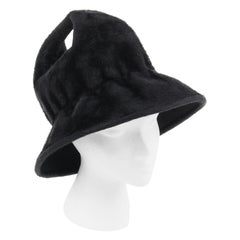 YVES SAINT LAURENT c.1960's YSL Black Felted Fur Top Handle Bucket Hat
