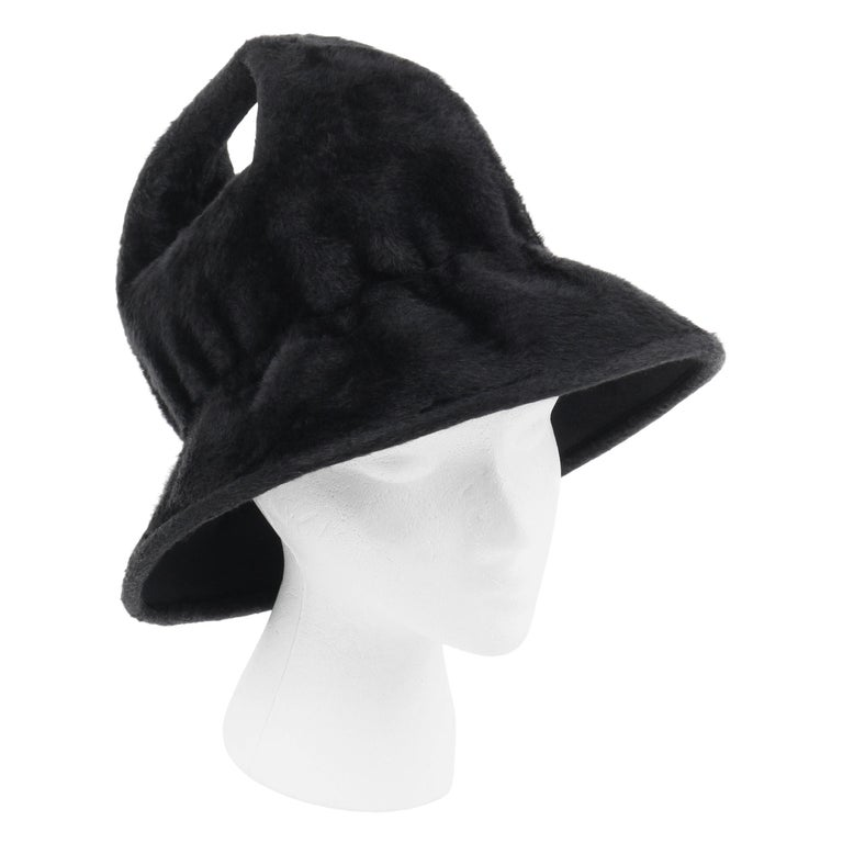 YVES SAINT LAURENT c.1960's YSL Black Felted Fur Top Handle Bucket Hat For Sale