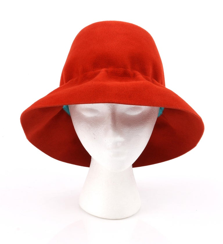 Women's YVES SAINT LAURENT c.1960's YSL Cayenne Red Felted Fur Structured Bucket Hat For Sale