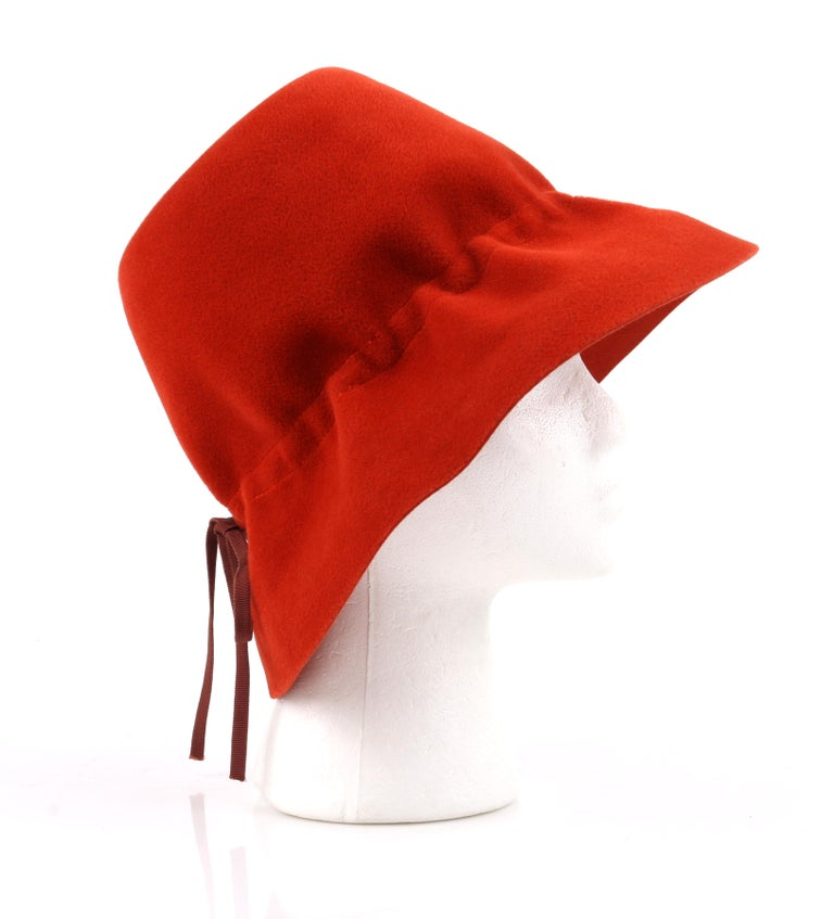 YVES SAINT LAURENT c.1960's YSL Cayenne Red Felted Fur Structured Bucket Hat For Sale 1