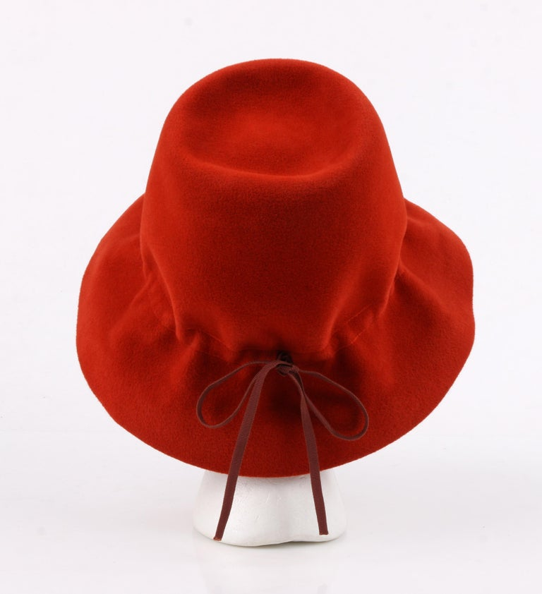 YVES SAINT LAURENT c.1960's YSL Cayenne Red Felted Fur Structured Bucket Hat For Sale 2