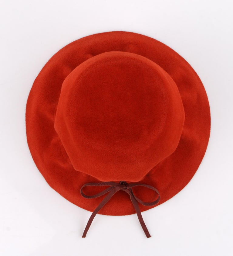 YVES SAINT LAURENT c.1960's YSL Cayenne Red Felted Fur Structured Bucket Hat For Sale 4