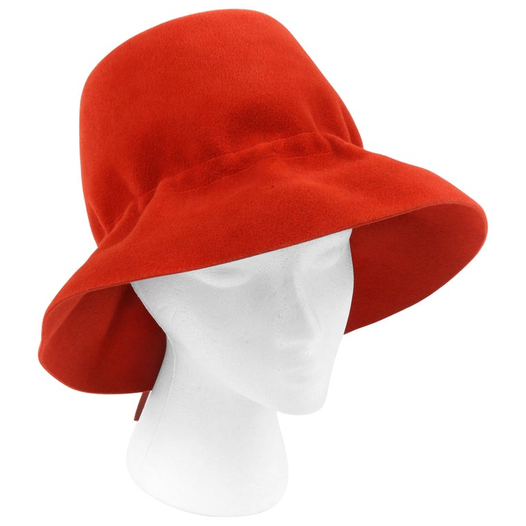 YVES SAINT LAURENT c.1960's YSL Cayenne Red Felted Fur Structured Bucket Hat For Sale